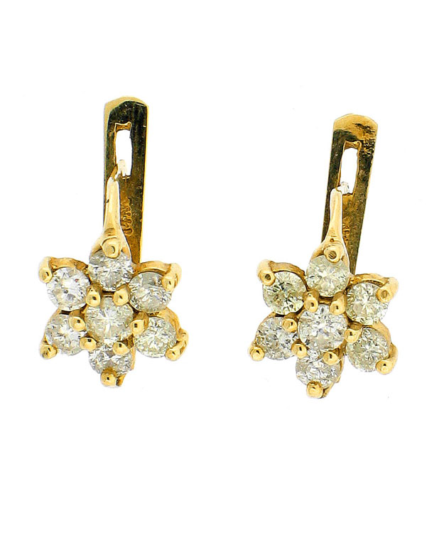 14KW Star Shaped Earrings with Diamonds (Yellow): 0.95cts