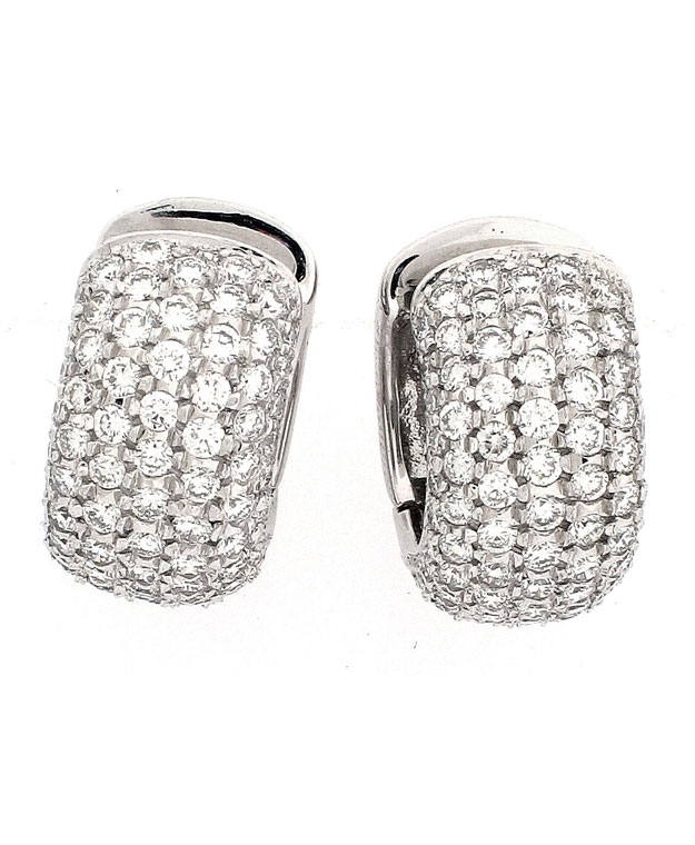 18KW Paved Huggie Earrings with Diamonds: 2.90cts