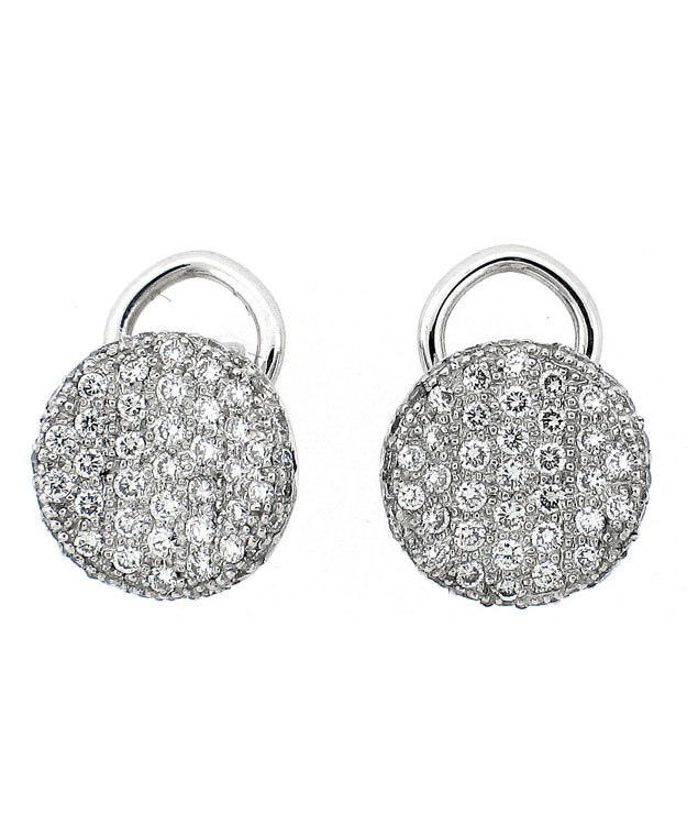 18KW Round Stud Look Paved Earrings with Diamonds: 1.02cts