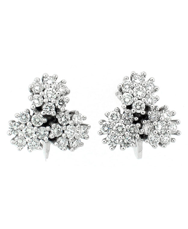 18KW Three Cluster Fashion Earrings with Diamonds: 1.02cts