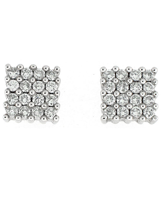 14KW Block Prong Stud Look Earrings with Diamonds: 0.52cts