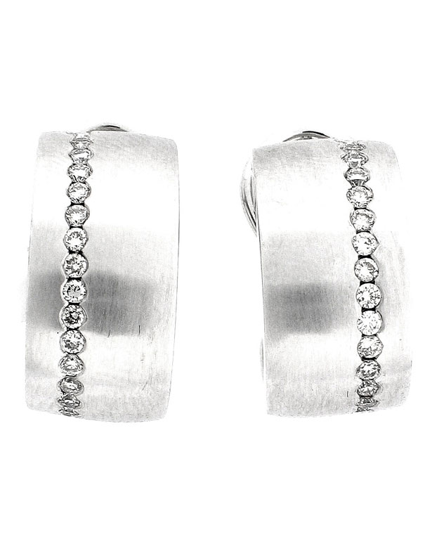 18KW Huggie Fashion Earrings with Diamonds: 0.25cts