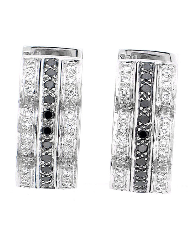 18KW Fashion Huggie Earrings with White and Black Diamonds: 0.50