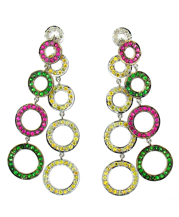 18KW Circle Drop Earrings with Multi-Colored Sapphires: 6.65cts