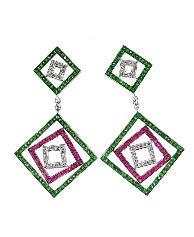 18KW Square Drop Earrings with Multi-Colored Sapphires: 3.10cts