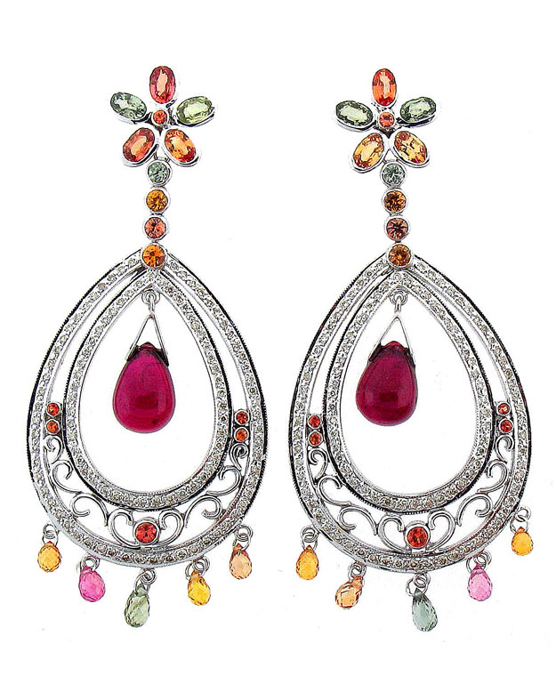 18KW Fashion Earrings with Multi-Colored Sapphires: 7.50cts, Rub