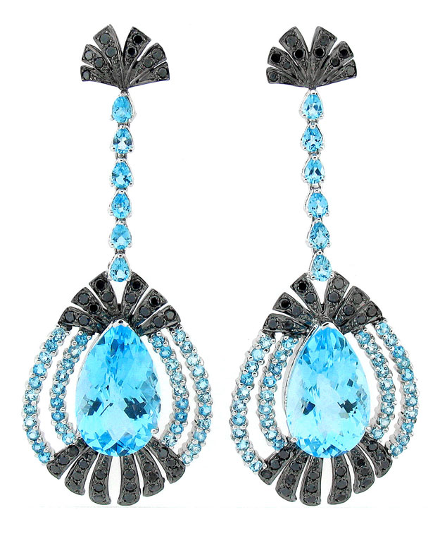 18KW Chandlier Drop Earrings with Blue Topaz: 47.60cts and Black
