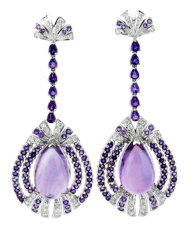 18KW Chandlier Drop Earrings with Amythest: 40.30cts and Diamond