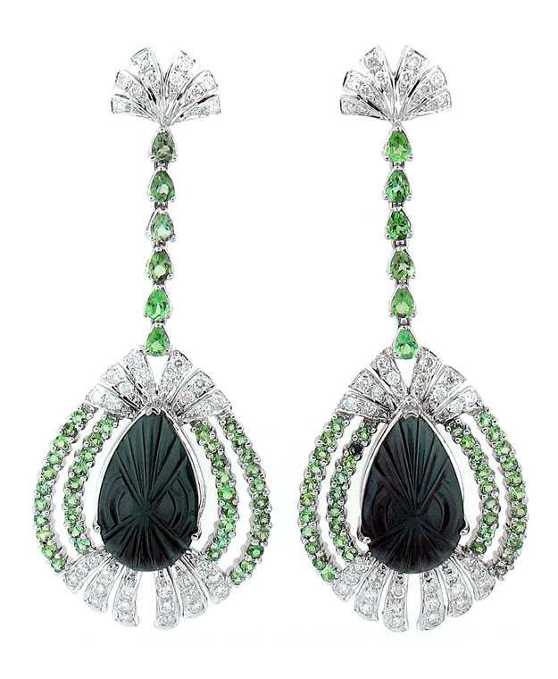 18KW Chandlier Drop Earrings with Green Tourmaline: 30.50cts and