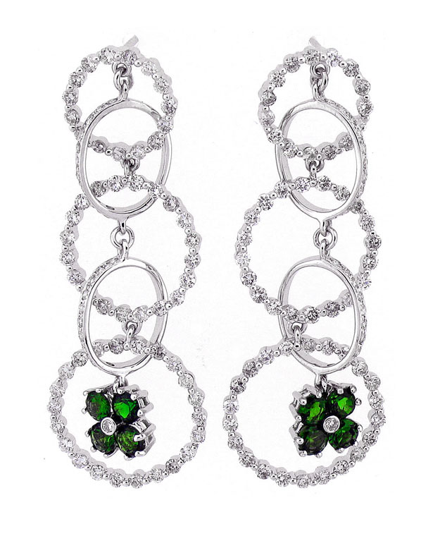18KW Circle Drop Earrings with Tsavorite: 1.45cts and Diamonds: