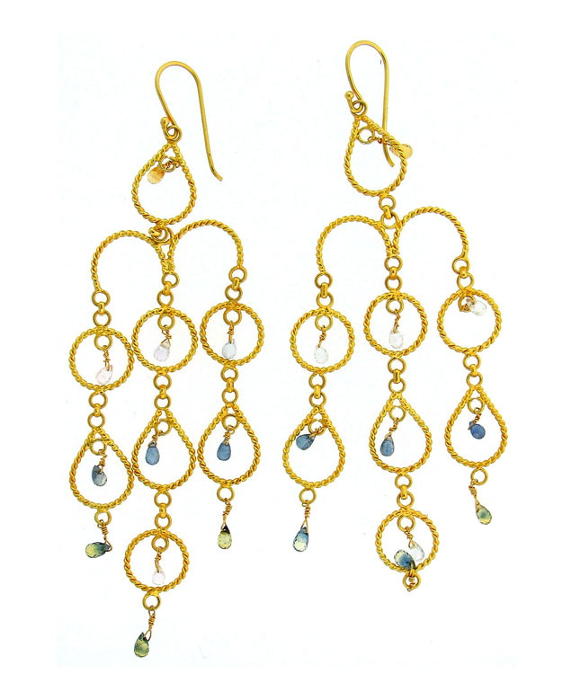 18KY Gold Wire Earrings with Multi-Colored Sapphires